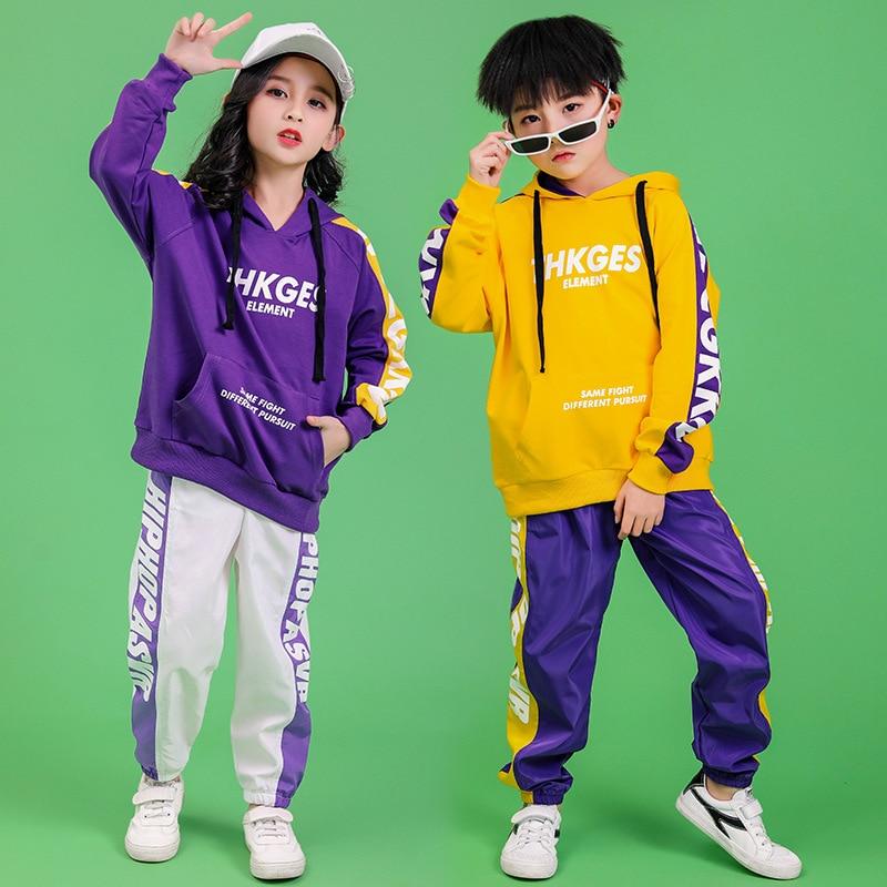 Children Hip Hop Clothing Hoodie Sweatshirt Shirt Tops Casual Pants for Girls Boys Dance Costume Wear Ballroom Dancing Clothes