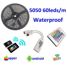 5m LED Strip 5050 RGB Waterproof 60leds/m IP65 tape SMD 12V flexible light 24k wifi remote controller no adapter