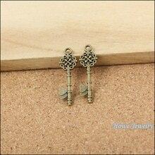 Винтажный 160 шт античный бронзовый китайский узел любовь сердце подвеска в форме ключа diy ювелирных изделий 10051