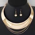 Collar de plata chapado en Oro Las Mujeres de Moda boho collar llamativo para el banquete de boda cristalino de la manera sistemas de la joyería de la Venta Directa