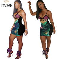 IMYSEN 2018 Sexy Sequin Dresses Women Summer New Arrive Strapless Chic Party Dress Spliced Empire Vestido