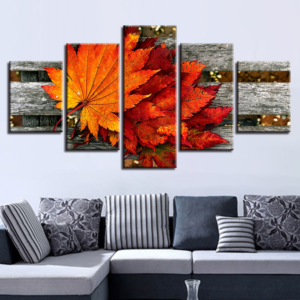 Modern Modular Pictures HD Printed 5 Pieces Maple Leaf Still Life Canvas Painting Art Decoration Living Room Wall Frame Artworks in Painting Calligraphy from Home Garden