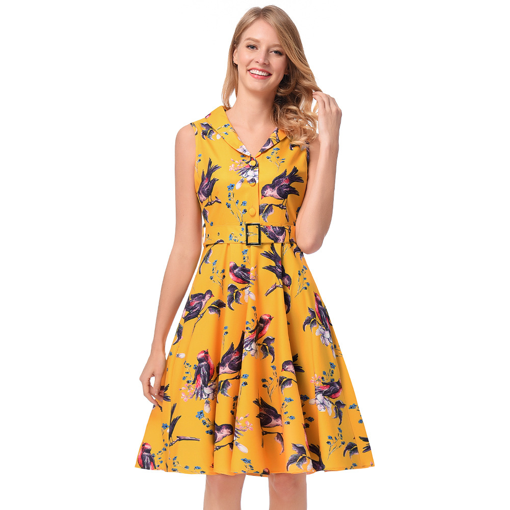 2018 simple boutonnage revers Faldas femmes Euramerica femmes sans manches taille mince musculation impression robes Mujer Vestidos