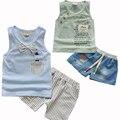 Новая Мода Baby Boy Одежда Набор Майка + Шорты джинсы Детская Одежда Малышей Мальчик Комплект Одежды Детская Одежда Мальчиков костюм
