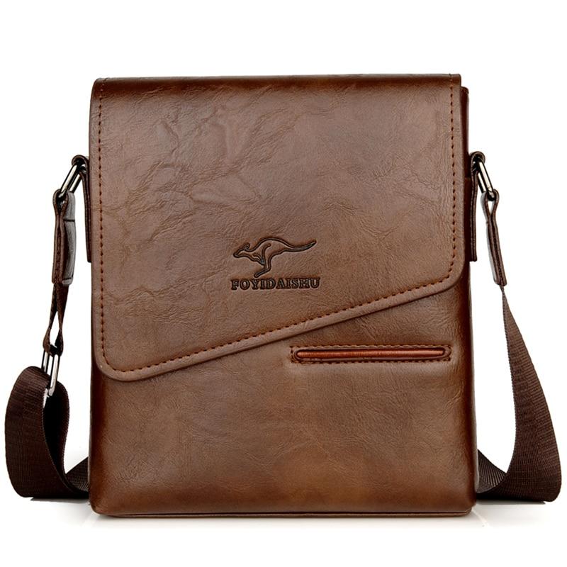 Kangaroo Luxury Brand Vintage Men Shoulder Bag Leather Messenger Bag Waterproof Office Business Crossbody Bag For Male Handbags