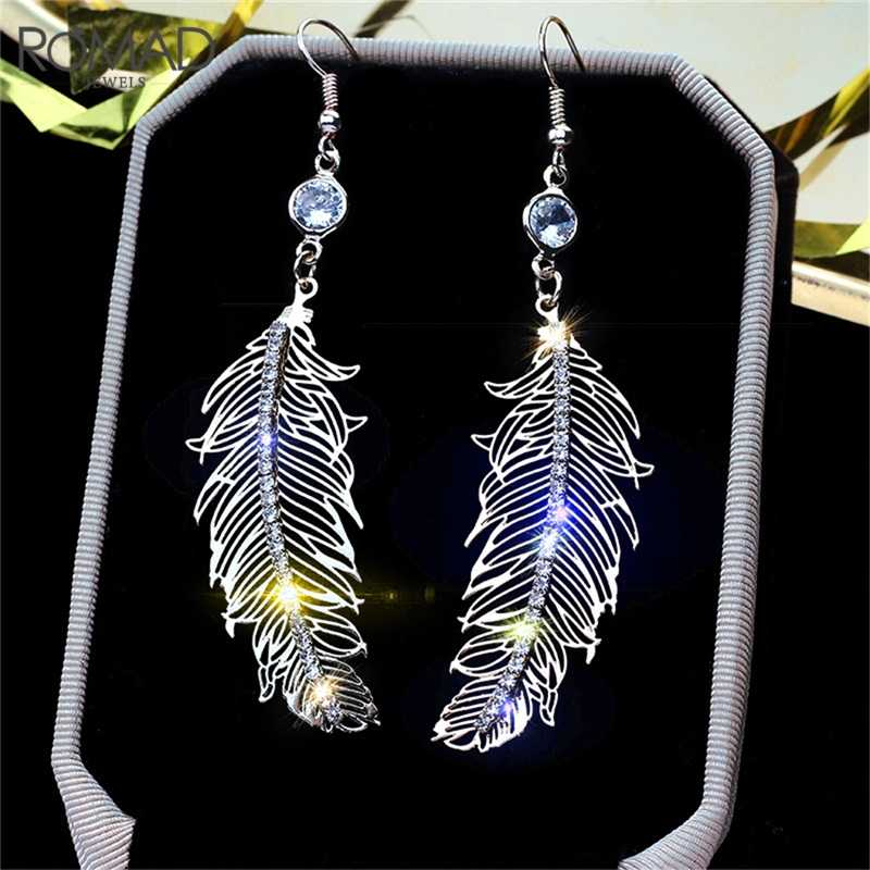 ROMAD Fashion Stainless Steel Stud Earring Feather Earrings With Zircon Silver Color Micro Anti Allergy Leaf Earrings Women R4