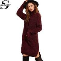 Sheinside Womens Fall Fashion Vintage Dress Burgundy Marled Knit Turtleneck Long Sleeve High Low Sweater Dress