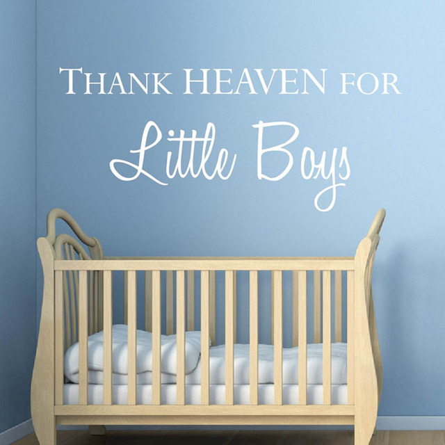 Baby Boy Nursery Quotes Wall Stickers Thank Heaven For Little Boy Lettering  Vinyl Wall Decals For Part 23
