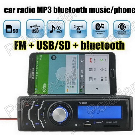Hot New In-Dash bluetooth music phone Car Radio MP3 Player Audio Auto Stereo FM Receiver USD/SD Card /AUX in