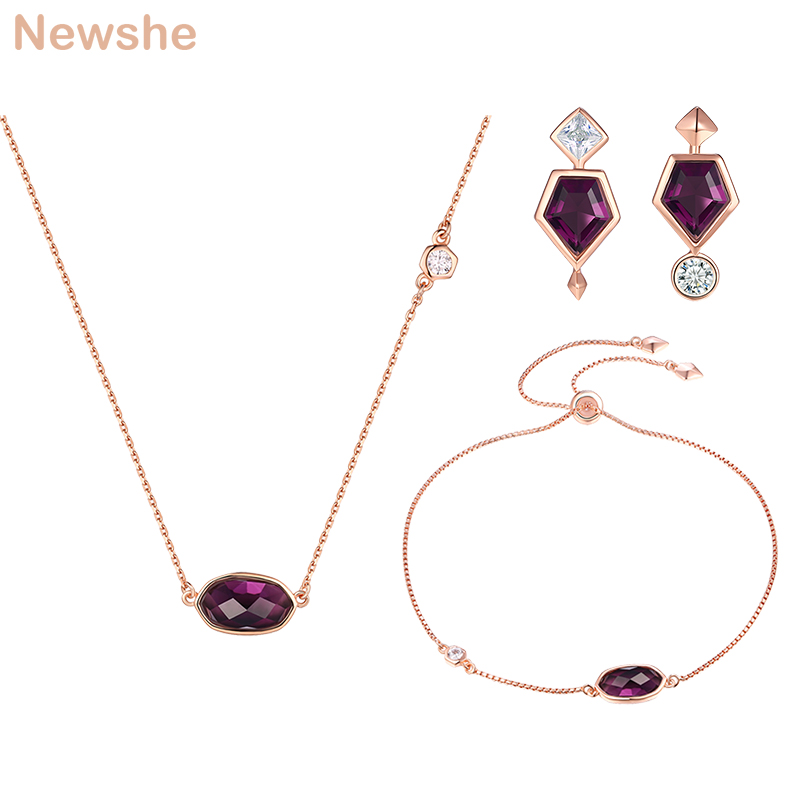 Newshe 925 Sterling Silver Rose Gold Color Purple Gem Stone Bracelet Earrings Pendant Necklace Sets Anniversary Gift for Women a suit of vintage faux gem elephant necklace bracelet and earrings for women