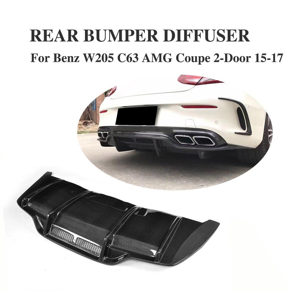 Carbon Fiber Rear Bumper Race Diffuser Lip Spoiler for Mercedes Benz C Class C205 C63 AMG Coupe 2Door 2015-2017 Car Tuning Parts