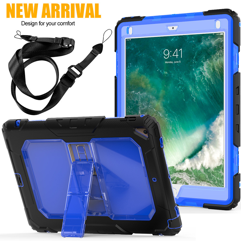 RYKKZ for IPad Air 2 Case Anti Dropping Bracket Cover for IPad 9.7inch Straps Outdoor Flip Stand Protect Cover