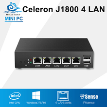 Mini PC Intel Celeron J1800 Sin Ventilador Equipo Industrial 4 LAN Gigabit Router Firewall de Windows 10 Linux Un Computador de Escritorio