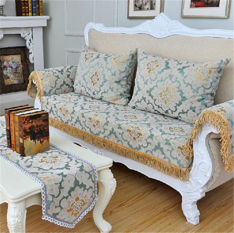 Customized Sofa Covers Chenille Flocked Jacquard Fabric Sectional Towel Universal Furniture Cover Backrest In From Home