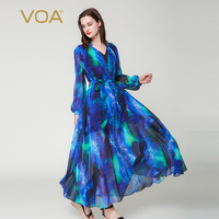 VOA Puff Long Sleeve Sky Blue V Neck Double Layer Silk Dress Plus Size Women Maxi Robe Dresses Casual Lace up Clothes Fall A6201