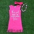 2016 девушки летнее платье 1 - 9 т доступны детских детей розовый кисти иисус платье с соответствующими повязка на голову и колье