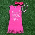 2016 girls summer dress 1-9t available baby kids hot pink tassels Jesus dress with matching headband and necklace set
