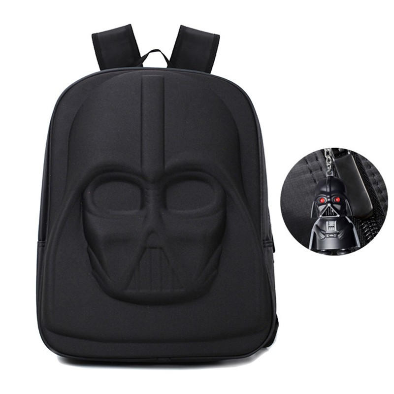 darth vader red eyes keychain and darth vader backpack front view