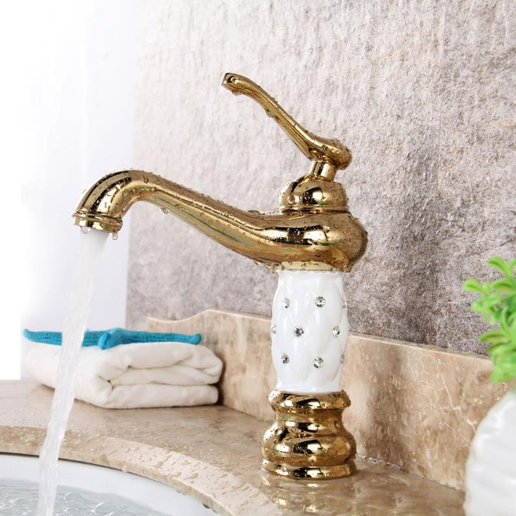 New Luxury Bathroom Basin Faucet small Single Handle with diamond Refinement Sink Mixer water Tap