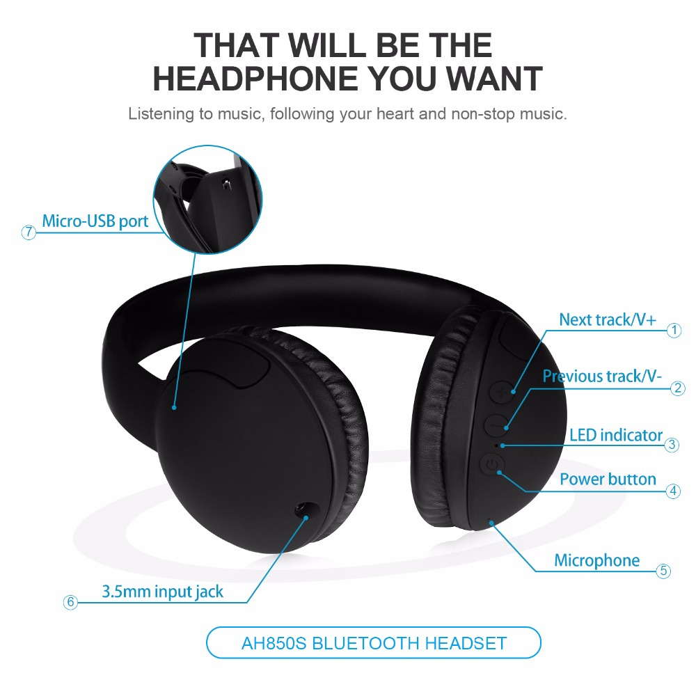 Ausdom AH850S Lightweight Foldable Wireless Bluetooth Headphone Wired Stereo Headset for iPhone Xiaomi PC for Kids Children-in Bluetooth Earphones & ...