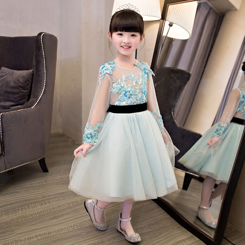 Girls party wear dress kids 2017 New embroidery children girls elegant ceremonies wedding birthday dresses teenagers prom gown girls party wear tulle tutu dress kids elegant ceremonies wedding birthday dresses teenagers prom gowns flower girl dress