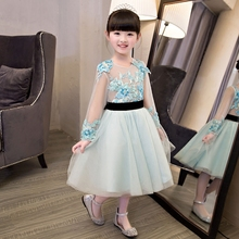 Girls party wear dress kids 2017 New embroidery children girls elegant ceremonies wedding birthday dresses teenagers prom gown