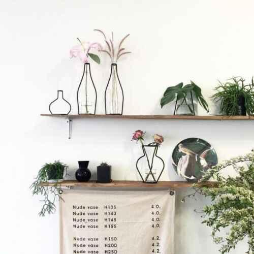 Скандинавские минималистичные абстрактные линии вазы черная железная ваза для цветов сушеный цветок