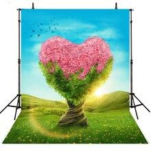 Coração Primavera Árvores Fotografia Backdrops Cenários de Vinil Para A Fotografia Foto Achtergrond Gilrs Fundo Para Photo Studio