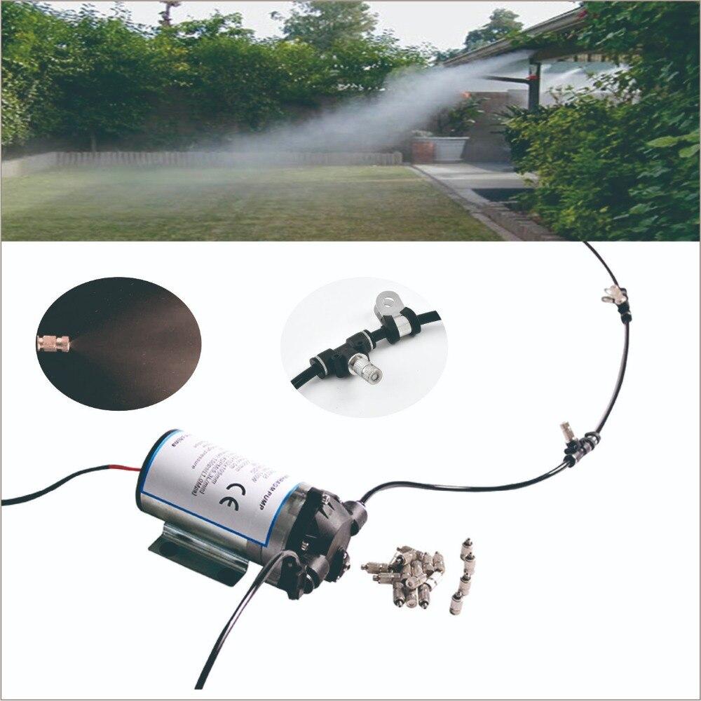 Silencioso bomba de sistema de refrigeração ao ar livre com temporizador do ciclo. 20 pcs sistema de nebulização bico. Ótimo para galpão de aves de capoeira, com efeito de estufa, pátio