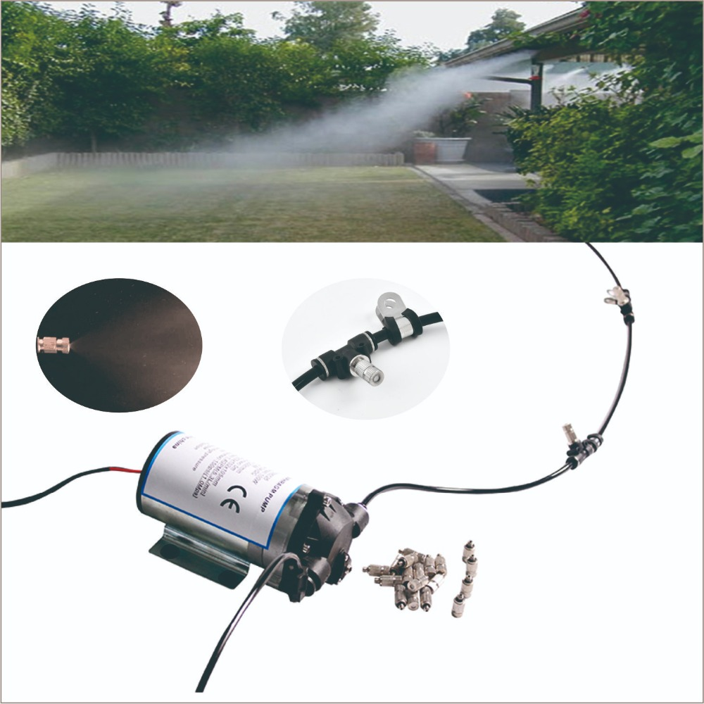 Silent pump outdoor cooling system with cycle timer 20pcs nozzle misting system Great for poultry shed
