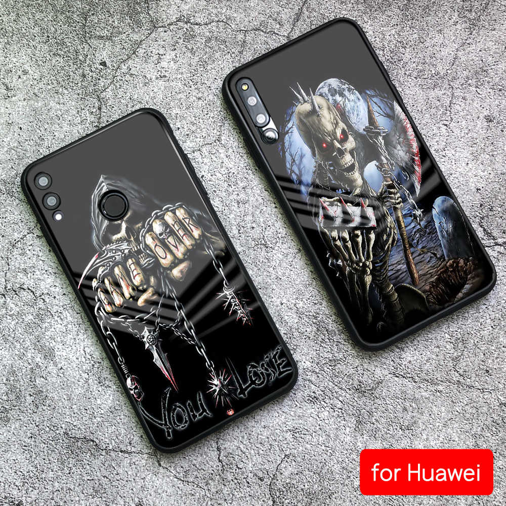 Cover for Huawei Mate 10 Pro Game over Skull Tempered Glass Case for Huawei Mate 9 10 Pro P10 P20 Honor V9 V10 Play Nova 3e