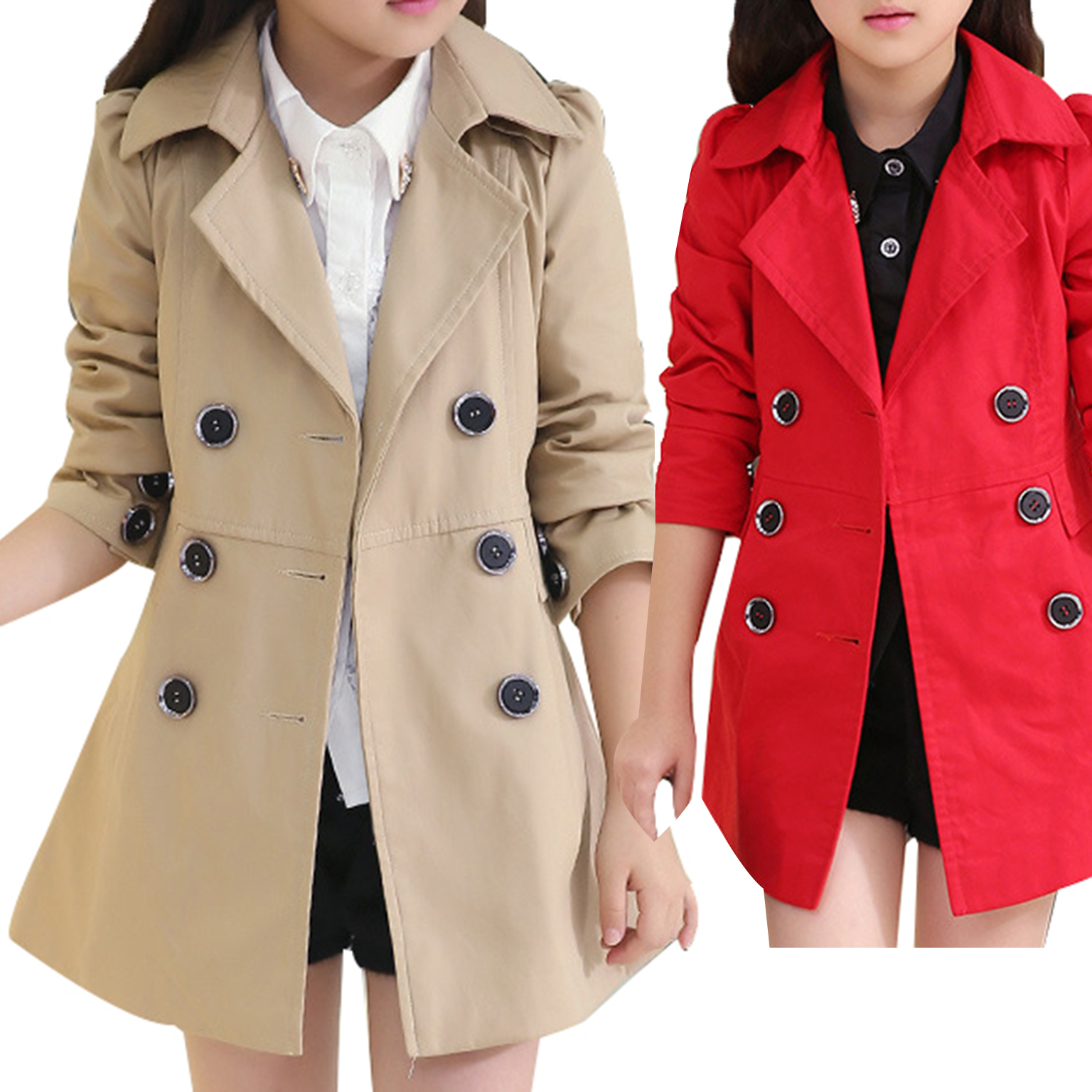 High Quality Girl Child Kid Lapel Double Breasted Outwear Pea Trench Coat peak lapel pocket wool blend pea coat