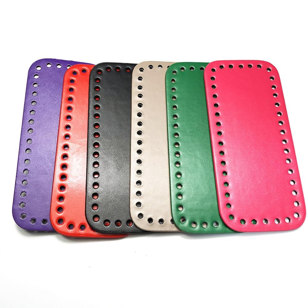 1PC Rectangle Long Bottom For Knitting Bag PU Leather Handbag Bottom With Holes Handmade DIY Bags Accessories