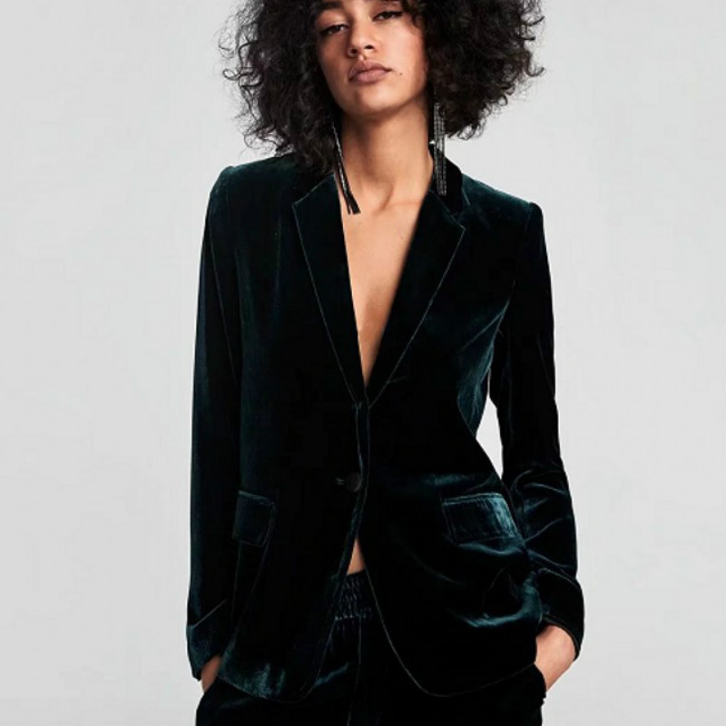 Chic Dark Green Velvet OL Single Button Velvet Blazer Woman Suits Double Pockets Turn Down Collar V-Neck Jacket Notched Tops