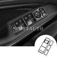 Carbon Fiber Car Door Window Button Trim Cover For Benz A Class W176 B Class W246 2012 2018 4pcs