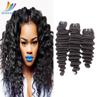 Sevengirls Brazilian Deep Curly Human Hair Bundles Natural Color Wet And Wavy Virgin Hair 30 Inch Bundle Available Free Shipping