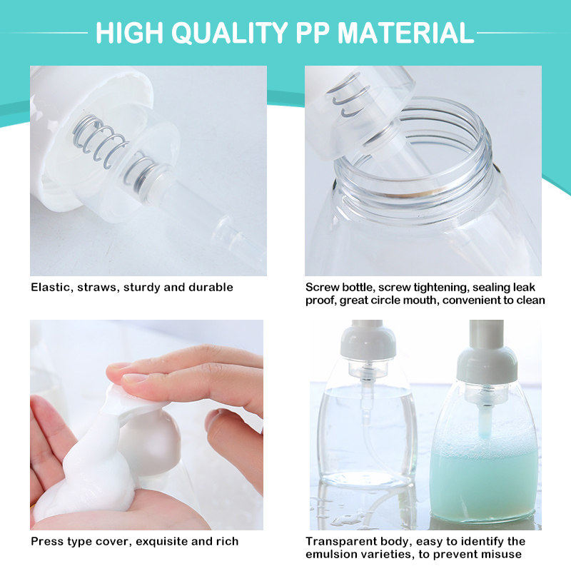 30/60/100/300ml Liquid Soap Foam Refillable Bottles Foaming Bottle Jar PET Travel Clear Squeezed Hand Sanitizer Dispenser Bottle