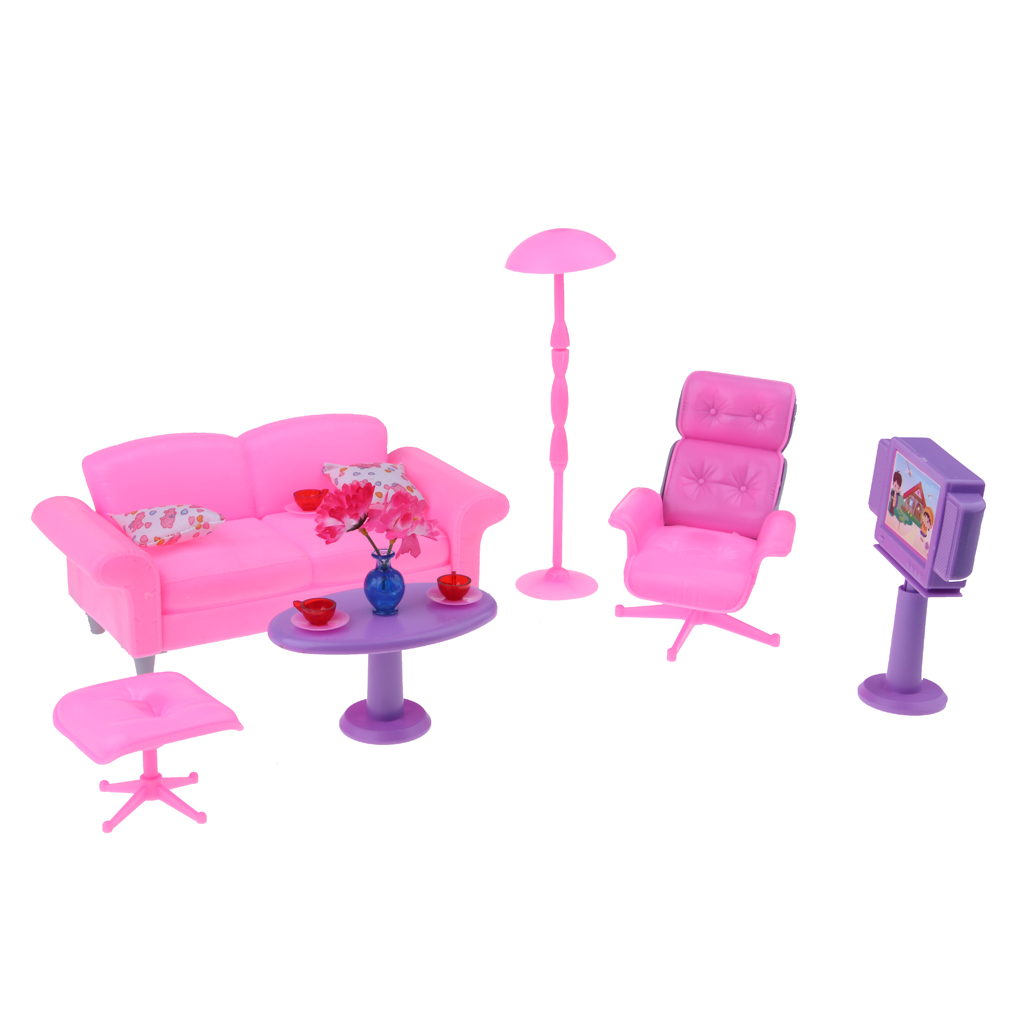 1/6 Miniature Sofa End Table Chair TV Furniture for Barbie Dollhouse Hot Toys Figures Accessories Kids Pretend Play Toy