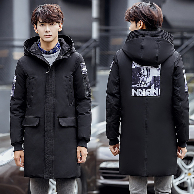 fc05f48d96a Extra Long Winter Mens Down Coats Outwear Casual Jacket Duck Down Padded  Parkas Male Hooded Puffer