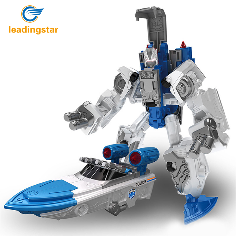Leadingstar 5 In 1 Transformation Robot City Secure Team Police Car Motorcycle Helicopter Airship SUV Alloy Children Toy Gift