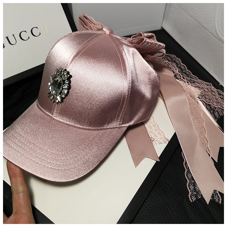 01904-JIEJIA2019112  Satin Sheen  Lace Bowknow Lady  Baseball  Hat  Women Leisure Cap