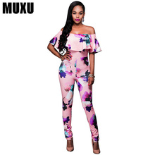 summer sexy off shoulder Printing floral ruffle jumpsuit bodysuit women  backless ladies womens clothing streetwear strapless
