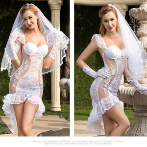 Image 3 - See Through Full Outfit Sexy Bride Wedding Dress Costume   Fancy Women Bridal Dress White Bride Cosplay Erotic Costume White