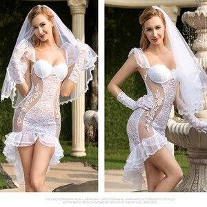 Image 3 - Ver através de roupa completa sexy vestido de noiva vestido de casamento traje fantasia vestido de noiva feminino branco noiva cosplay traje erótico branco