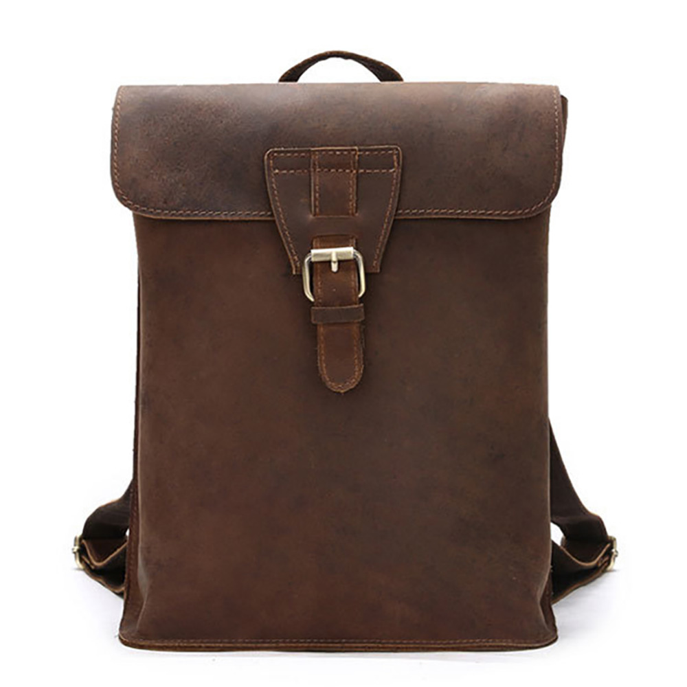 Famous Brand Crazy Horse Cowhide Genuine Leather font b Backpack b font Men font b Women