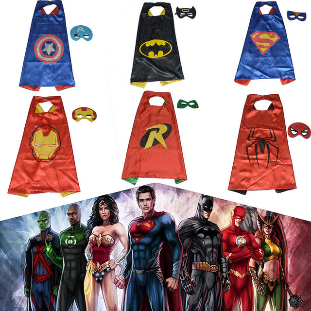 Hot Dupla face Crianças de Super-heróis Cape 70*70 cm CABO & conjunto MÁSCARA de Super-heróis Batman Spiderman Supergirl crianças capes