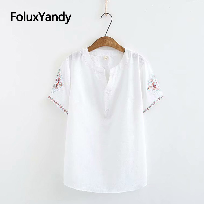 Embroidery Summer   Blouses   Women   Blouse     Shirt   Plus Size XXXL 4XL Casual V-neck Short Sleeve   Blouses   White Blue KKFY3290