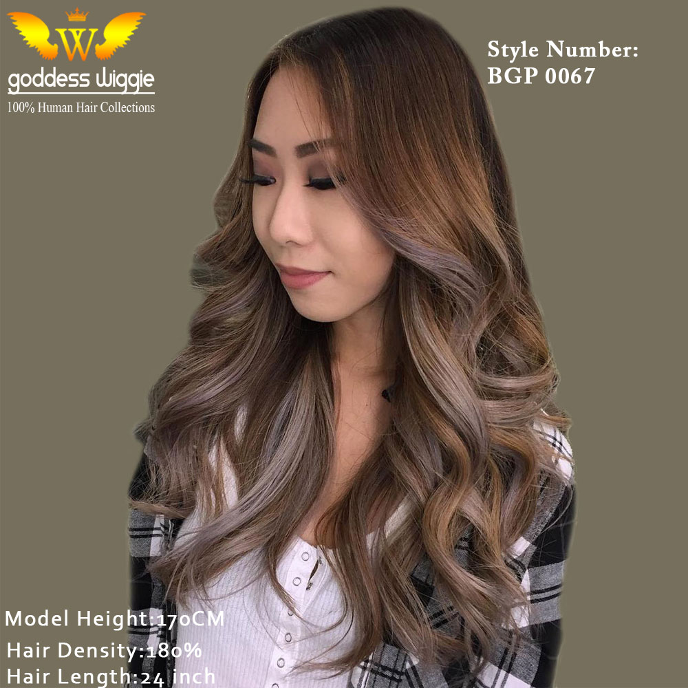 5a 180density Ombre Light Brown Gray Lace Front Wigs