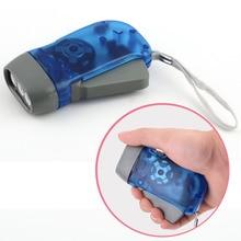 NEW  Hand-press 3 LED Hand Crank Battery-Free Flashlight Lights Pressing Manual Generator Traveling Torch Light