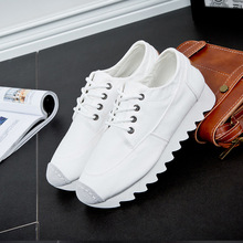 Spring woman shoes new Korean leisure sports wind thick white shoes female students white canvas low flat Canvas shoes Yasilaiya street beat white shoes female 2018 new spring wild korean students harajuku style ulzzang hemp leaf canvas shoes